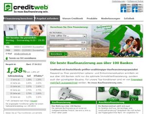 screenshot Immobilienfinanzierung Vergleich www.creditweb.de